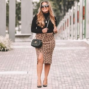 Once Upon a Time Leopard Knit Skirt in Tan